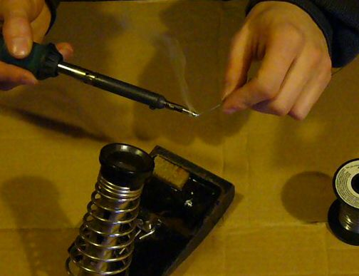 Tinning the iron with solder